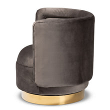 Baxton Studio Saffi Glam and Luxe Grey Velvet Fabric Upholstered Gold Finished Swivel Accent Chair