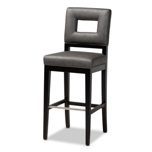 Baxton Studio Faustino Modern and Contemporary Grey Faux Leather Upholstered Black Finished Wood Bar Stool Baxton Studio- Bar Stools-Minimal And Modern - 1