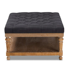 Baxton Studio Lindsey Modern and Rustic Charcoal Linen Fabric Upholstered and Greywashed Wood Cocktail Ottoman