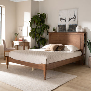 Baxton Studio Danielle Traditional and Transitional Rustic Ash Walnut Brown Finished Wood Full Size Platform Storage Bed with Built-In Shelves