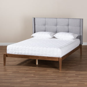 Baxton Studio Edmond Modern and Contemporary Grey Fabric Upholstered and Ash Walnut Brown Finished Wood King Size Platform Bed
