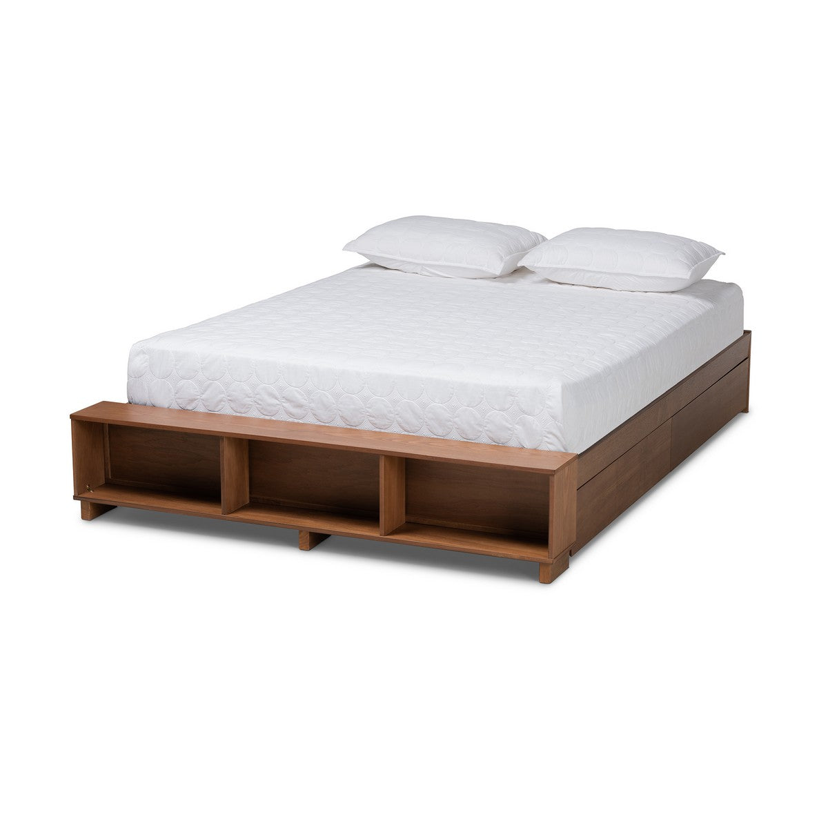 Baxton Studio Arthur Modern Rustic Ash Walnut Brown Finished Wood Full Size Platform Bed with Built-In Shelves Baxton Studio-Bed Frames-Minimal And Modern - 1