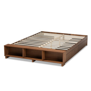 Baxton Studio Arthur Modern Rustic Ash Walnut Brown Finished Wood Full Size Platform Bed with Built-In Shelves
