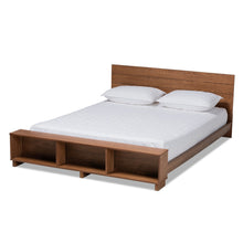Baxton Studio Regina Modern Rustic Ash Walnut Brown Finished Wood Full Size Platform Storage Bed with Built-In Shelves Baxton Studio-beds-Minimal And Modern - 1