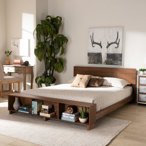 Baxton Studio Regina Modern Rustic Ash Walnut Brown Finished Wood Full Size Platform Storage Bed with Built-In Shelves