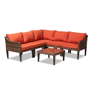 Baxton Studio Breida Modern and Contemporary Orange Fabric Upholstered and Brown Finished 6-Piece Woven Rattan Outdoor Patio Set Baxton Studio-Patio Sets-Minimal And Modern - 1