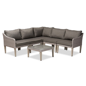 Baxton Studio Breida Modern and Contemporary Dark Grey Fabric Upholstered and Light Grey Finished 6-Piece Woven Rattan Outdoor Patio Set Baxton Studio-Patio Sets-Minimal And Modern - 1