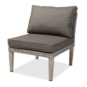 Baxton Studio Breida Modern and Contemporary Dark Grey Fabric Upholstered and Light Grey Finished 6-Piece Woven Rattan Outdoor Patio Set