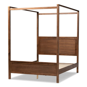 Baxton Studio Veronica Modern and Contemporary Walnut Brown Finished Wood Queen Size Platform Canopy Bed Baxton Studio-beds-Minimal And Modern - 1