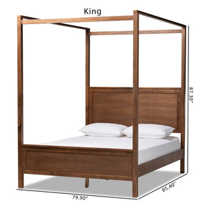 Baxton Studio Veronica Modern and Contemporary Walnut Brown Finished Wood Queen Size Platform Canopy Bed