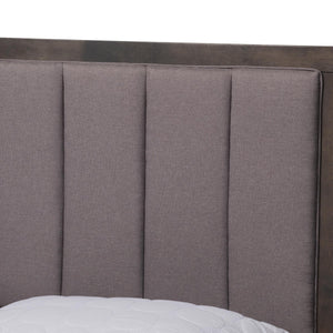 Baxton Studio Natasha Modern and Contemporary Grey Fabric Upholstered and Dark Grey Oak Finished Wood King Size Platform Canopy Bed