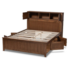 Baxton Studio Riko Modern and Contemporary Transitional Walnut Brown Finished Wood Queen Size Platform Storage Bed
