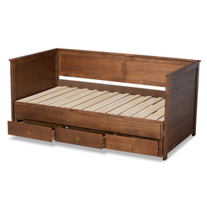 Baxton Studio Thomas Classic and Traditional Walnut Brown Finished Wood Expandable Twin Size to King Size Daybed with Storage Drawers