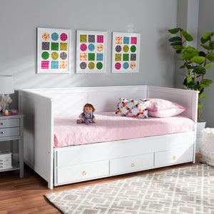 Baxton Studio Thomas Classic and Traditional White Finished Wood Expandable Twin Size to King Size Daybed with Storage Drawers
