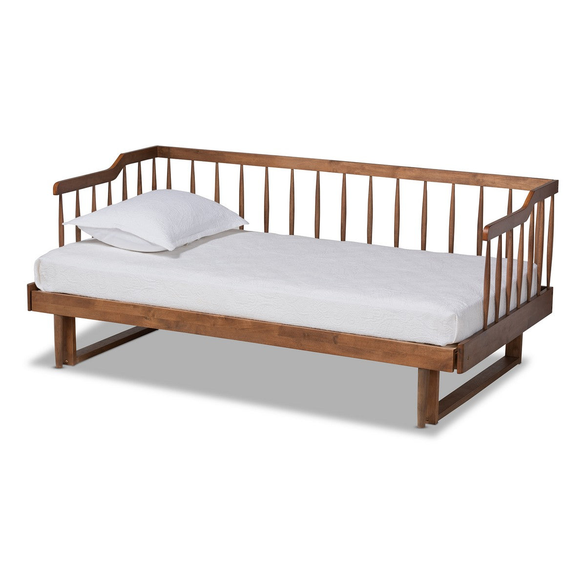 Baxton Studio Muriel Modern and Transitional Walnut Brown Finished Wood Expandable Twin Size to King Size Spindle Daybed Baxton Studio-daybed-Minimal And Modern - 1