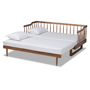 Baxton Studio Muriel Modern and Transitional Walnut Brown Finished Wood Expandable Twin Size to King Size Spindle Daybed