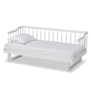 Baxton Studio Muriel Modern and Transitional White Finished Wood Expandable Twin Size to King Size Spindle Daybed Baxton Studio-daybed-Minimal And Modern - 1