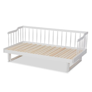 Baxton Studio Muriel Modern and Transitional White Finished Wood Expandable Twin Size to King Size Spindle Daybed
