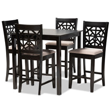 Baxton Studio Devon Modern and Contemporary Sand Fabric Upholstered and Espresso Brown Finished Wood 5-Piece Pub Dining Set Baxton Studio-Pub Sets-Minimal And Modern - 1