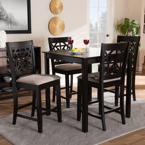 Baxton Studio Devon Modern and Contemporary Sand Fabric Upholstered and Espresso Brown Finished Wood 5-Piece Pub Dining Set