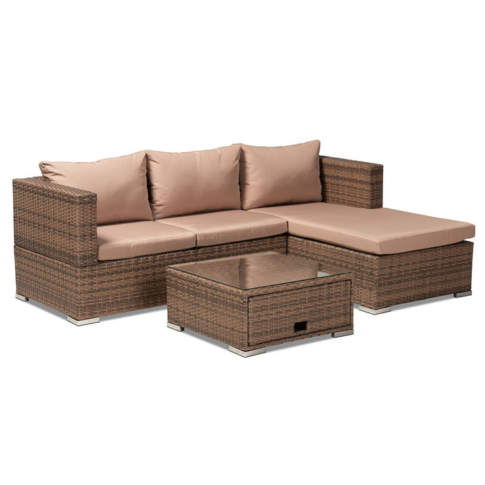 Baxton Studio Addison Modern and Contemporary Light Brown Upholstered and Brown Finished 3-Piece Woven Rattan Outdoor Patio Set with Adjustable Recliner Baxton Studio-Patio Sets-Minimal And Modern - 1