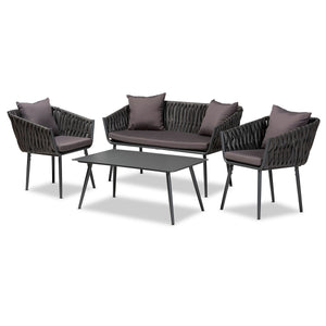 Baxton Studio Stewart Modern and Contemporary Grey Fabric Upholstered and Grey Finished Metal 4-Piece Outdoor Patio Set  Baxton Studio-Patio Sets-Minimal And Modern - 1