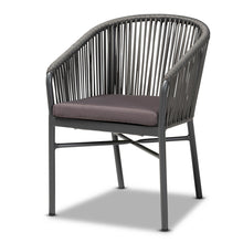 Baxton Studio Marcus Modern and Contemporary Grey Finished Rope and Metal Outdoor Dining Chair Baxton Studio-Outdoor Dining-Minimal And Modern - 1