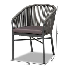Baxton Studio Marcus Modern and Contemporary Grey Finished Rope and Metal Outdoor Dining Chair