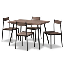 Baxton Studio Mave Modern and Contemporary Walnut Finished Wood and Black Metal 5-Piece Dining Set Baxton Studio-Dining Sets-Minimal And Modern - 1