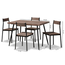 Baxton Studio Mave Modern and Contemporary Walnut Finished Wood and Black Metal 5-Piece Dining Set