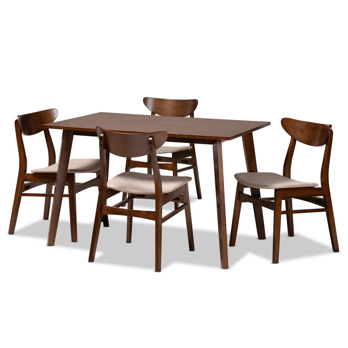 Baxton Studio Orion Mid-Century Modern Transitional Light Beige Fabric Upholstered and Walnut Brown Finished Wood 5-Piece Dining Set Baxton Studio-Dining Sets-Minimal And Modern - 1