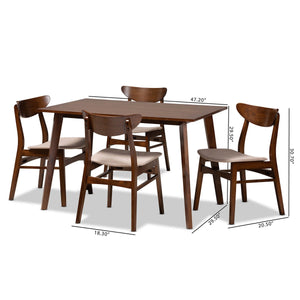 Baxton Studio Orion Mid-Century Modern Transitional Light Beige Fabric Upholstered and Walnut Brown Finished Wood 5-Piece Dining Set