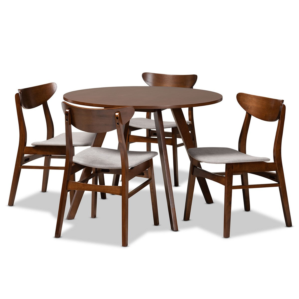 Baxton Studio Philip Mid-Century Modern Transitional Light Grey Fabric Upholstered and Walnut Brown Finished Wood 5-Piece Dining Set Baxton Studio-Dining Sets-Minimal And Modern - 1