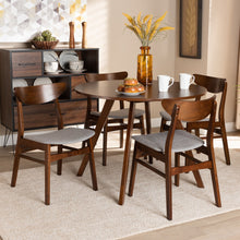 Baxton Studio Philip Mid-Century Modern Transitional Light Grey Fabric Upholstered and Walnut Brown Finished Wood 5-Piece Dining Set