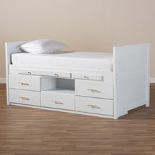Baxton Studio Mirza Modern and Contemporary White Finished Wood 5-Drawer Twin Size Storage Bed with Pull-Out Desk