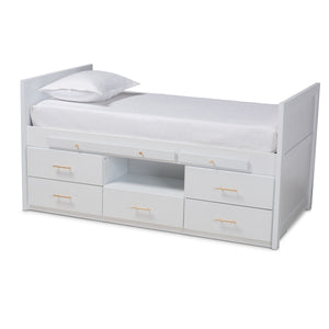 Baxton Studio Mirza Modern and Contemporary White Finished Wood 5-Drawer Twin Size Storage Bed with Pull-Out Desk Baxton Studio-beds-Minimal And Modern - 1