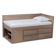 Baxton Studio Levon Modern and Contemporary Antique Oak Finished Wood 4-Drawer Twin Size Storage Bed Baxton Studio-beds-Minimal And Modern - 1