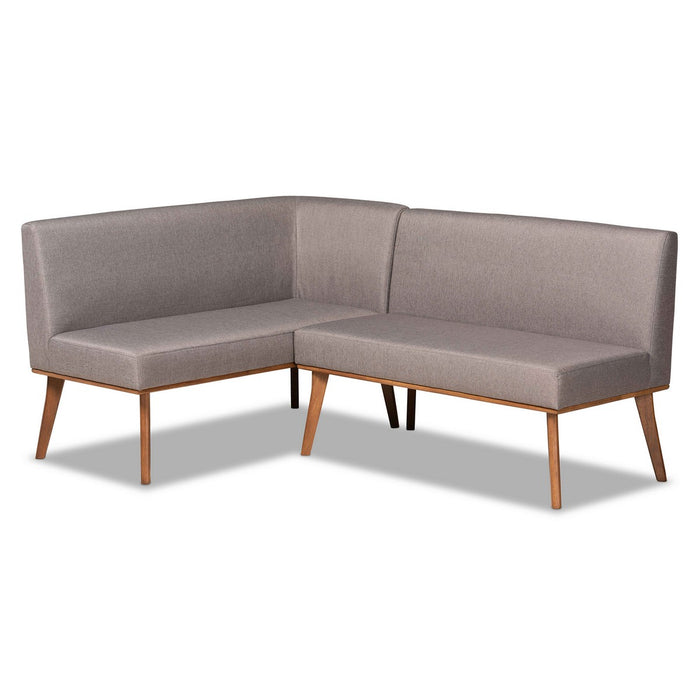 Baxton Studio Odessa Mid-Century Modern Grey Fabric Upholstered and Walnut Brown Finished 2-Piece Wood Dining Nook Banquette Set Baxton Studio-benches-Minimal And Modern - 1
