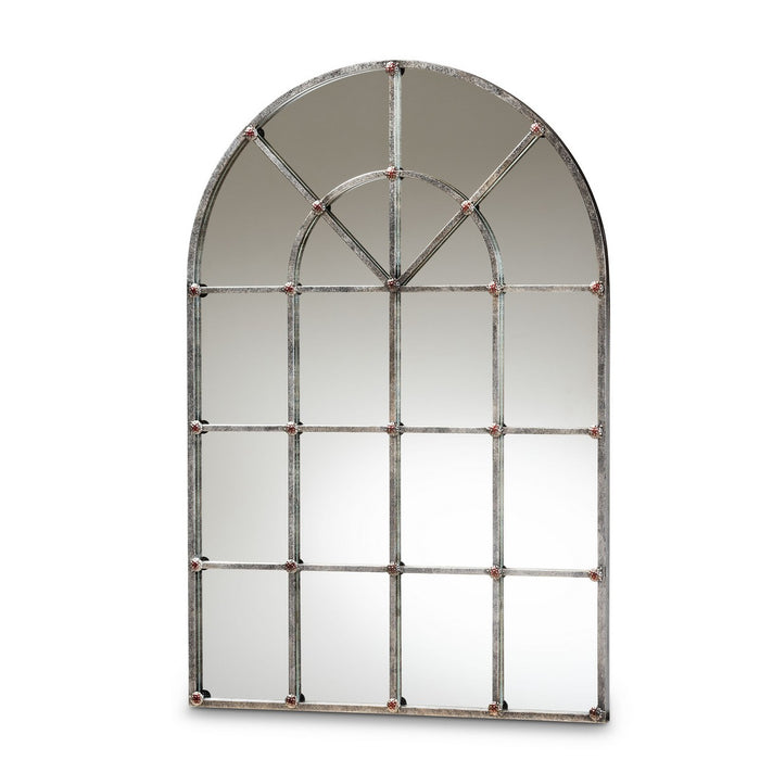 Baxton Studio Newman Vintage Farmhouse Antique Silver Finished Arched Window Accent Wall Mirror Baxton Studio-mirrors-Minimal And Modern - 1