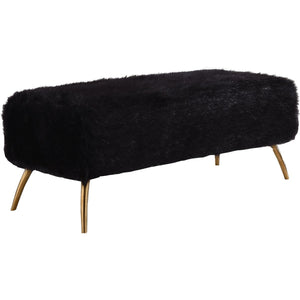 Meridian Furniture Tiffany Black Fur Bench-Minimal & Modern