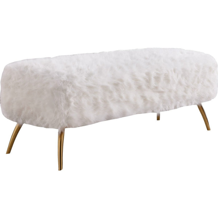 Meridian Furniture Tiffany White Fur Bench-Minimal & Modern