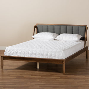 Baxton Studio Helsa Mid-Century Modern Dark Grey Fabric Upholstered and Walnut Finished King Size Platform Bed