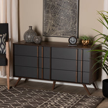 Baxton Studio Naoki Modern and Contemporary Two-Tone Grey and Walnut Finished Wood 6-Drawer Bedroom Dresser