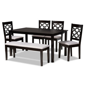 Baxton Studio Gabriel Modern and Contemporary Grey Fabric Upholstered and Dark Brown Finished Wood 6-Piece Dining Set Baxton Studio-Dining Sets-Minimal And Modern - 1