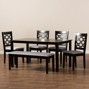 Baxton Studio Gabriel Modern and Contemporary Grey Fabric Upholstered and Dark Brown Finished Wood 6-Piece Dining Set