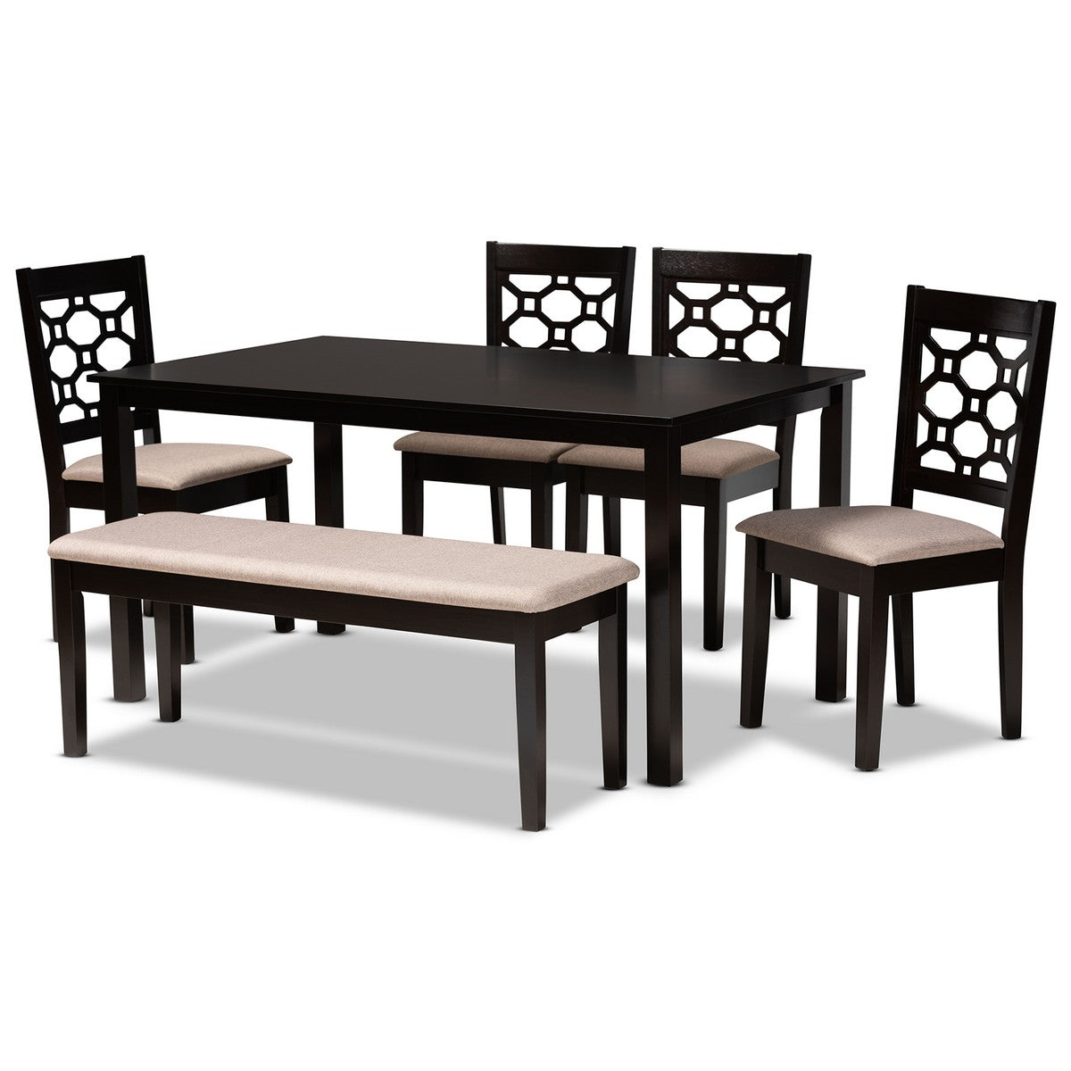 Baxton Studio Gabriel Modern and Contemporary Sand Fabric Upholstered and Dark Brown Finished Wood 6-Piece Dining Set Baxton Studio-Dining Sets-Minimal And Modern - 1