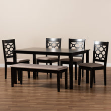 Baxton Studio Gabriel Modern and Contemporary Sand Fabric Upholstered and Dark Brown Finished Wood 6-Piece Dining Set