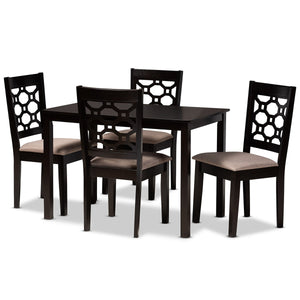 Baxton Studio Henry Modern and Contemporary Sand Fabric Upholstered and Dark Brown Finished Wood 5-Piece Dining Set Baxton Studio-Dining Sets-Minimal And Modern - 1