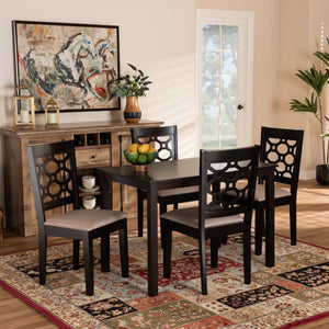 Baxton Studio Henry Modern and Contemporary Sand Fabric Upholstered and Dark Brown Finished Wood 5-Piece Dining Set