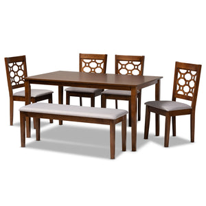 Baxton Studio Gabriel Modern and Contemporary Grey Fabric Upholstered and Walnut Brown Finished Wood 6-Piece Dining Set Baxton Studio-Dining Sets-Minimal And Modern - 1